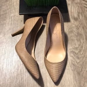 Jessica Simpson Tan Reptile Heels